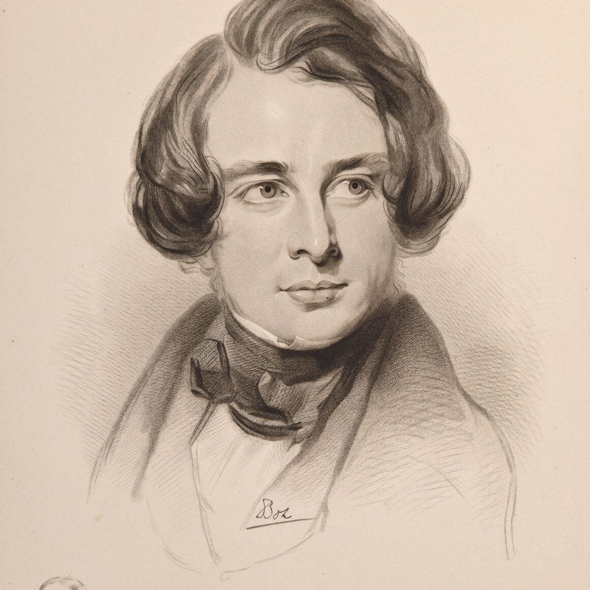 Dibuix - retrat de Charles Dickens 1842